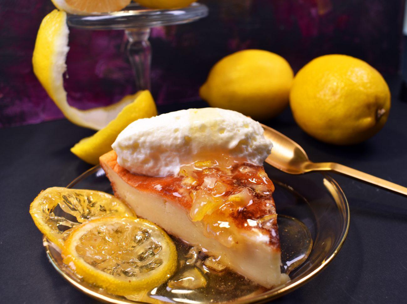 Tarta de queso con limón en almíbar